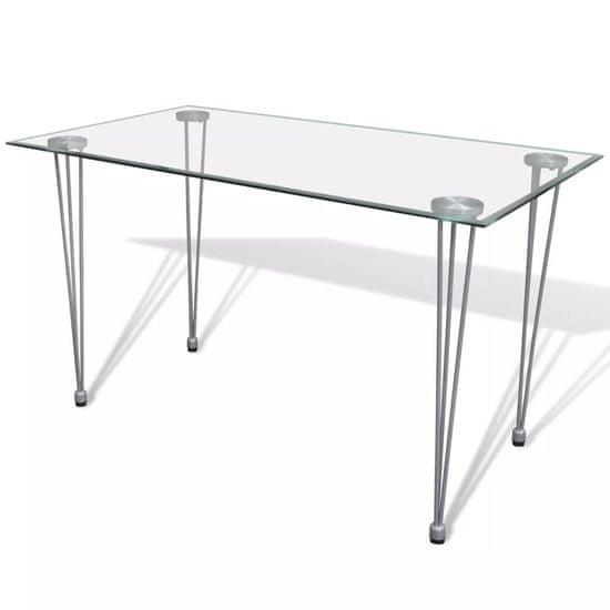 Jedálenský stôl so sklenenou doskou, priehľadný