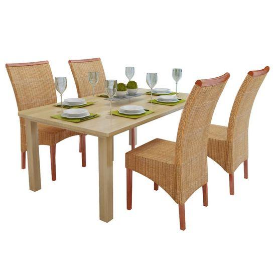 Jedálenské stoličky 4 ks, hnedé, prírodný ratan