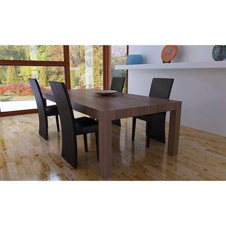 shumee Jedilni stoli 4 kosi temno rjavo umetno usnje