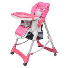 shumee Luksusowe krzesełko do karmienia, regulacja wysokości, różowe