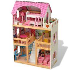 3-poschodový domček pre bábiky, drevený, 60x30x90 cm