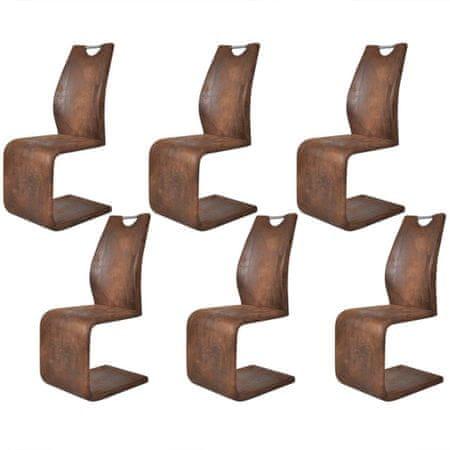 slomart Jedilni stoli 6 kosov rjavo umetno usnje