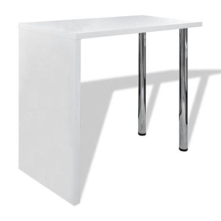 shumee magasfényű fehér MDF bárasztal 2 acél lábbal