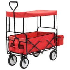 shumee Skládací ruční vozík se stříškou ocelový červený