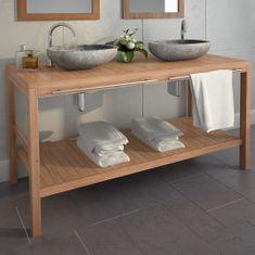 shumee Kúpeľňová skrinka, masívne teakové drevo 132x45x75 cm
