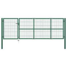 shumee Záhradná plotová brána so stĺpikmi 350x100 cm, oceľ, zelená