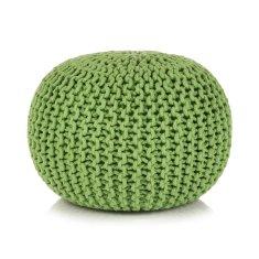 shumee Ručne pletená bavlnená taburetka, 50x35 cm, zelená
