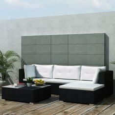 Vidaxl 5dílná zahradní sedací souprava s poduškami polyratan černá