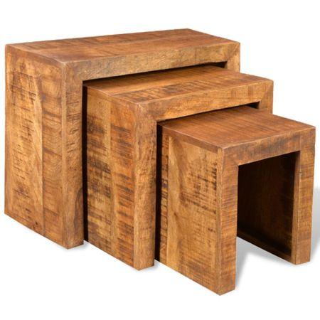 shumee 3-részes tömör mangófa, egymásba tolható asztal