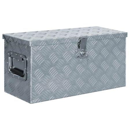 Aluminiowa skrzynia, 61,5 x 26,5 x 30 cm, srebrna