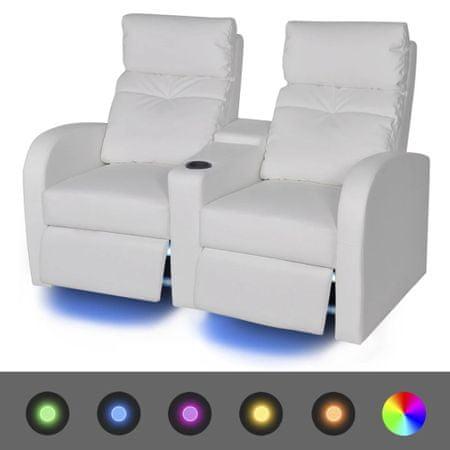 shumee LED 2 személyes műbőr dönthető támlájú fotel fehér