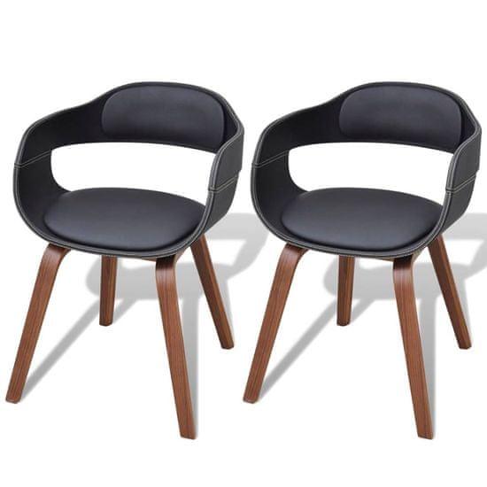 Jídelní židle 2 ks černé ohýbané dřevo a umělá kůže