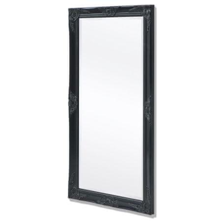 shumee Stensko Ogledalo Baročni Stil 120 x 60 cm Črne Barve