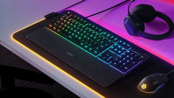 herná klávesnica SteelSeries Apex 3, US (64795) membránová RGB 10 zón magnetická opierka zápästia