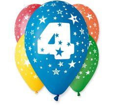 Gemar Latex Balloons Száma 4 színes mix-on hélium-5db