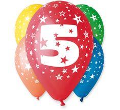 Gemar Latex Balloons Száma 5 színes mix-on hélium-5db