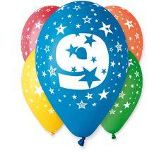 Gemar Latex Balloons Száma 9 színes mix-on hélium-5db