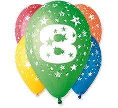 Gemar Latex Balloons Száma 8 mix színes hélium-5db