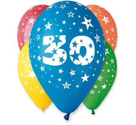 Gemar Balony lateksowe cyfra 30 mix kolorów - na hel - 5 szt