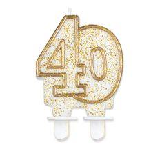 GoDan Tortová sviečka číslo 40 - zlatá