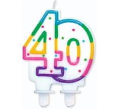 GoDan Tortová sviečka číslo 40 - duhová