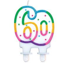 GoDan Tortová sviečka číslo 60 - duhová
