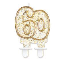 GoDan Tortová sviečka číslo 60 - zlatá