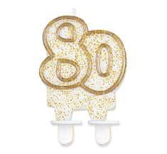 GoDan Tortová sviečka číslo 80 - zlatá