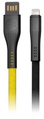 Forever Datový kabel Core Lightning, 1 m, 3 A, textilní plochý žlutý/černý GSM093552