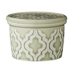 Lene Bjerre Majhna keramična škatla ABELLA s pokrovčkom zelene barve 9 x 6 cm