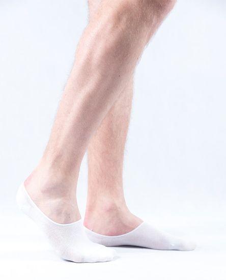 Pánske antibakteriálne bambusové ponožky ťapky biele - 43–46