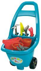 ECOIFFIER Kerti kocsi eszközökkel, cserepekkel és kék teáskannával