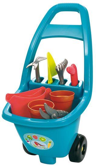 Ecoiffier Zahradní vozík s nářadím, květináči a konvičkou modrý