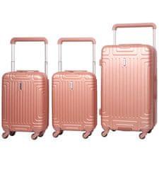 Aerolite Sada cestovních kufrů AEROLITE T-2821/3 ABS - růžová