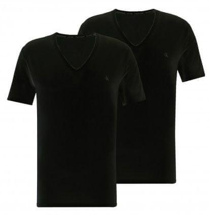 Calvin Klein dvojité balenie pánskych triček NB2408A S/S V Neck 2PK XL čierne