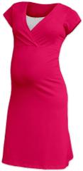 Jožánek Kojící noční košile Eva, krátký rukáv, sytě růžová S/M