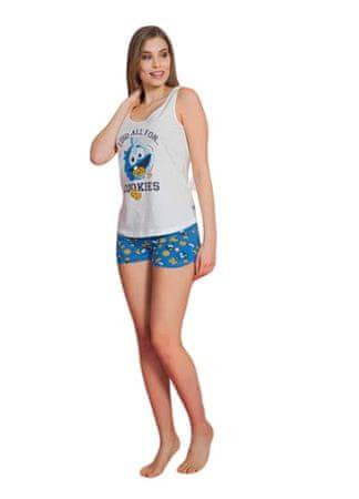 Vienetta Ženska bombažna pižama na trakovih Cookies - beli / modri - M
