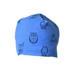 """GOLDSUN Bavlněná čepice pro děti - modrá """"Sovy"""""""