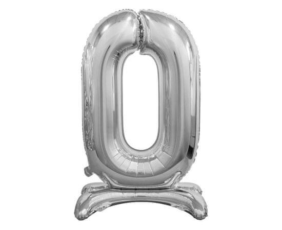 Fóliový balón číslica 0, stojace, B & C, stříbrná, 74cm