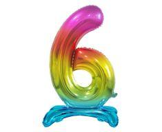 Fóliový balón číslice 6, stojící, B & C, duhová, 74cm