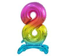 Fóliový balón číslice 9, stojící, B & C, duhová, 74cm