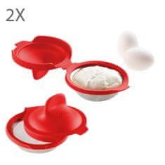 Lékué Tvořítko na ztracená vejce Lékué Egg Poacher 2ks | červená