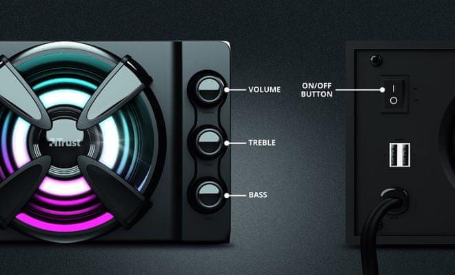 Głośniki Trust Ziva RGB 2.1 (23644) dopasowanie dźwięku głośności basy regulacja wysokich tonów
