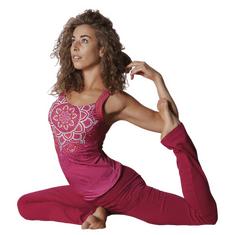 The Spirit of OM Top na jógu z bio bavlny - růžovo-červený Velikost: L