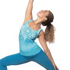 The Spirit of OM Top na jógu z bio bavlny - tropická modrá Velikost: L