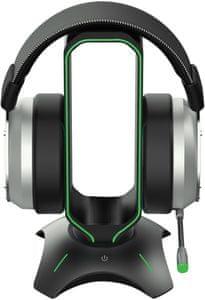 Držák herních sluchátek Yenkee YHB 3003 Tower (YHB 3003)  hliníková ocel, stabilní základna, bezpečné uložení, RGB