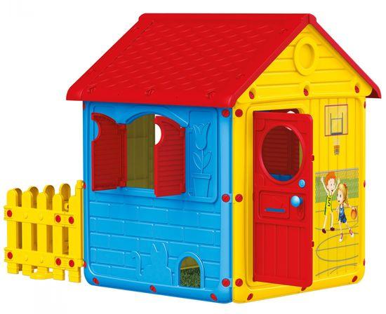 DOLU Záhradný domček s okenicami a plotom