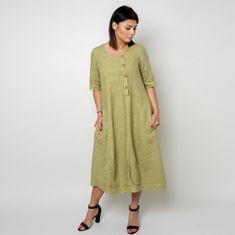 Willsoor Dlouhé lněné šaty olivové barvy 10791