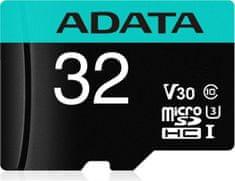 A-Data MicroSDHC 32GB U3 V30S + adaptér (AUSDH32GUI3V30SA2-RA1)
