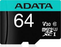 A-Data MicroSDXC 64GB U3 V30S + adaptér (AUSDX64GUI3V30SA2-RA1)